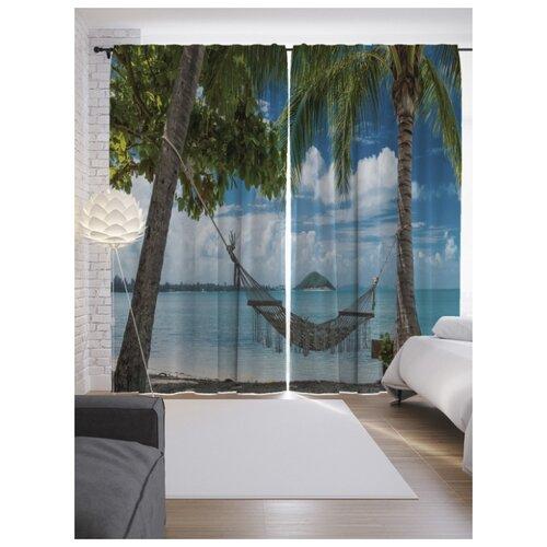 Фотошторы JoyArty Тихий пляж на ленте 265 см голубой/белый/зеленый фотошторы тамитекс тихий шелест