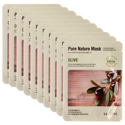 Secriss маска тканевая Pure Nature Mask Pack Olive с экстрактом оливы, 25 мл, 10 шт.