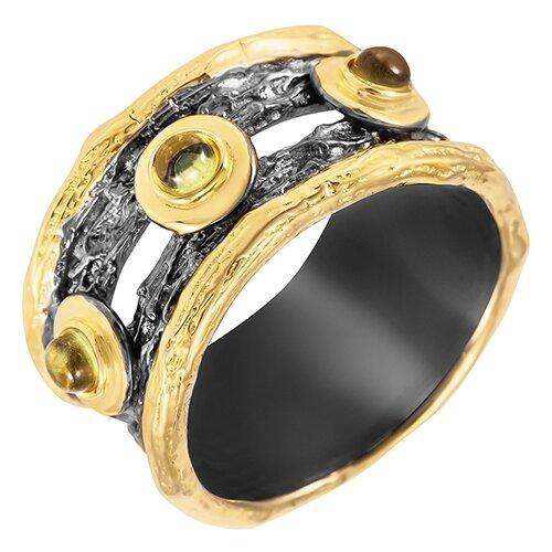 ELEMENT47 Широкое ювелирное кольцо из серебра 925 пробы с перидотами R00197_KO_PD_BJ, размер 17