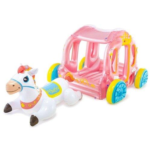 Купить Надувной игровой центр Intex Карета принцессы 56514 белый/розовый, Надувные игрушки