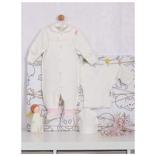 Купить Комплект одежды Трия размер 62-68, экрю/розовый, Комплекты