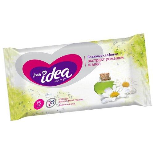 Купить Влажные салфетки Fresh idea Влажные салфетки для интимной гигиены с экстрактом ромашки и алоэ, 15 шт