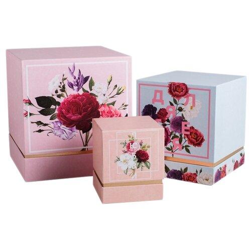 Фото - Набор подарочных коробок Дарите счастье Цветочный, 3 шт розовый/голубой набор подарочных коробок дарите счастье нежность 3 шт розовый
