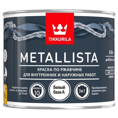 Краска Tikkurila Metallista глянцевая белый 0.4 л краска по ржавчине tikkurila metallista молотковая коричневая глянцевая 0 4 л