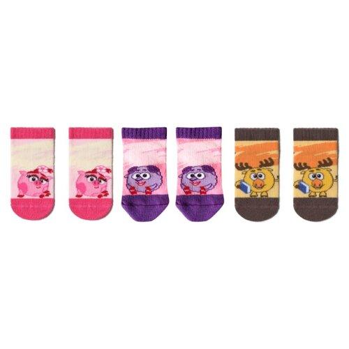 Носки Брестские Смешарики комплект из 3 пар, размер 11-12, розовый/фиолетовый/коричневый смешарики шторка экран смешарики на боковое окно фиолетовый