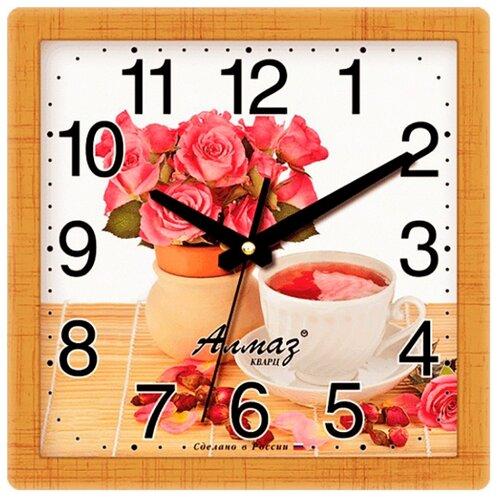 Часы настенные кварцевые Алмаз M50 коричневый/белый