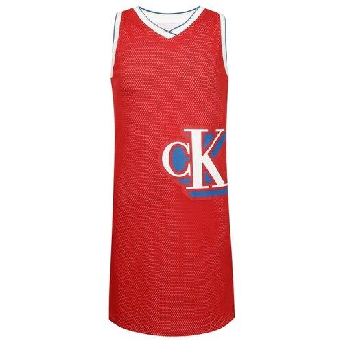 Платье CALVIN KLEIN размер 140, красный/белый