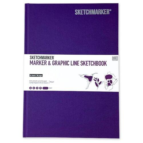 Скетчбук SketchMarker Marker&Graphic Line 25 х 17.6 см, 180 г/м², 44 л. фиолетовый