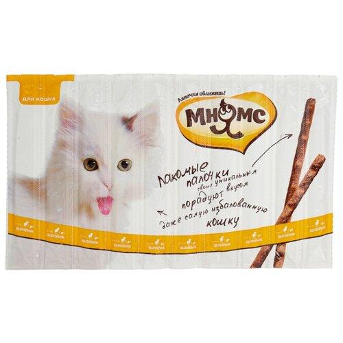 Лакомство для кошек Мнямс Лакомые палочки Цыпленок, печень, 5 г х 10 уп.