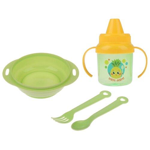 Фото - Комплект посуды Крошка Я Ням-ням (3275235), зеленый комплект посуды крошка я зайка 3275231 зеленый