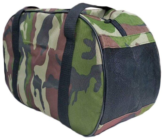 Переноска-сумка для собак Теремок СП-4 40х21х27 см зеленый камуфляж
