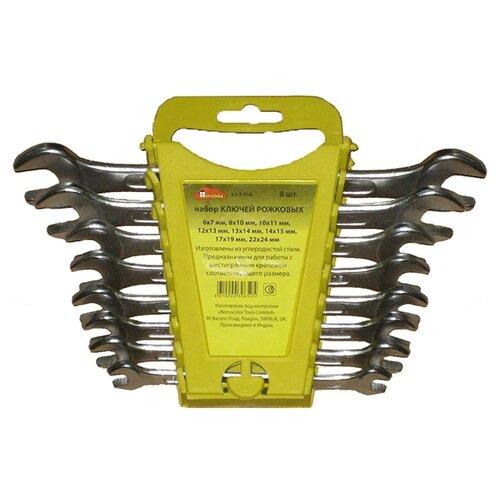 Фото - Набор ключей гаечных рожковых, хромированных, 8 штук набор ключей гаечных рожковых углеродистая сталь 12 предметов