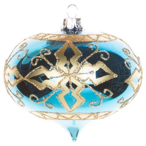 Набор елочных игрушек KARLSBACH 06776, синий с золотым узором
