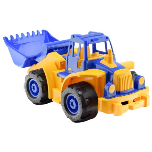 Трактор Нордпласт Богатырь мини с грейдером (299) 50 см синий / желтый