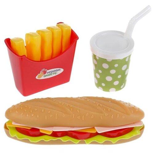 Купить Набор продуктов Играем вместе Фастфуд 1901U215-R красный/желтый, Игрушечная еда и посуда