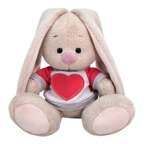 Мягкая игрушка Зайка Ми в белой толстовке с сердцем 15 см