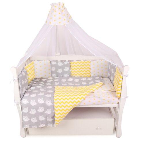 Amarobaby комплект в кроватку Совята (7 предметов) желтый/серый комплект в кроватку amarobaby 15 предметов 3 12 подушек бортиков совята бязь желтый серый