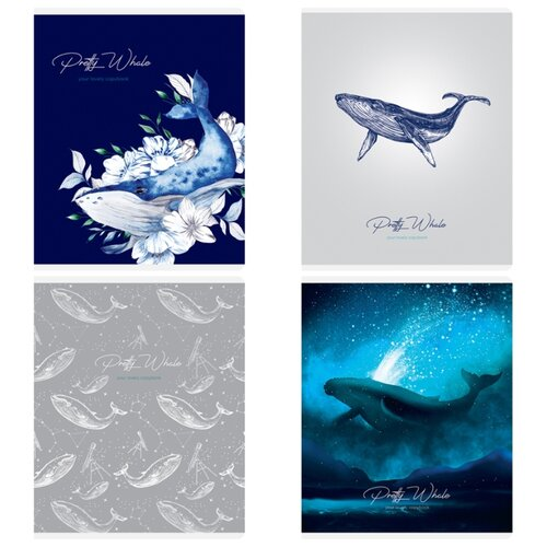 Купить Greenwich Line Упаковка тетрадей Pretty whale N5c48-26484, 5 шт./4 дизайна, клетка, 48 л., Тетради