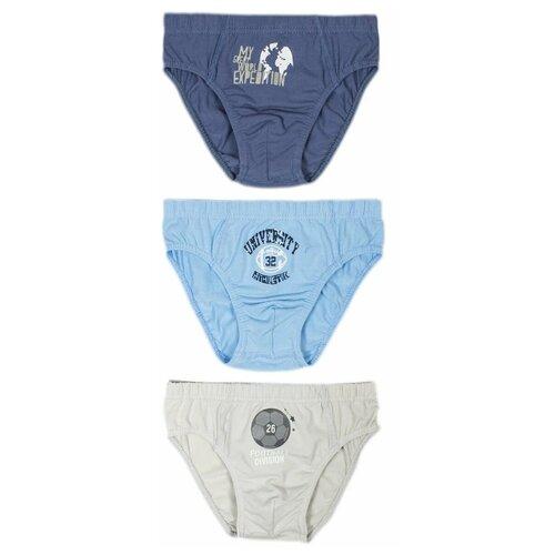 Купить Трусы BAYKAR 3 шт., размер 146/152, голубой/синий/бежевый, Белье и пляжная мода