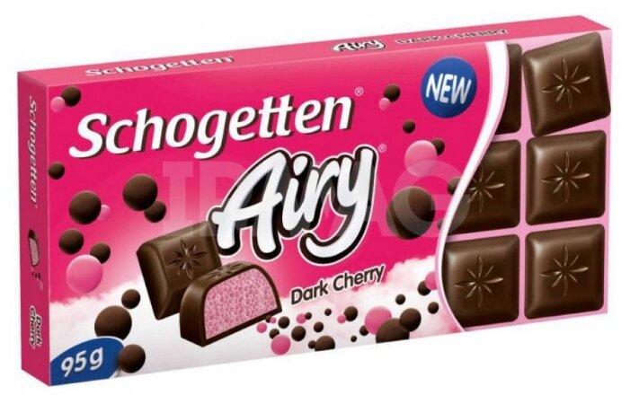 Шоколад Schogetten Airy Dark Cherry темный порционный с воздушной молочно-кремовой начинкой со вкусом вишни, 95 г
