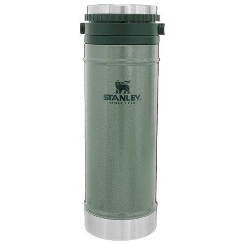 Классический термос STANLEY Classic Vacuum Travel Press, 0.47 л темно-зеленый
