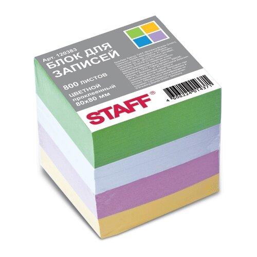 Купить STAFF Блок для записей 8x8 см, 800 листов (120383) зеленый/голубой/фиолетовый/оранжевый, Бумага для заметок
