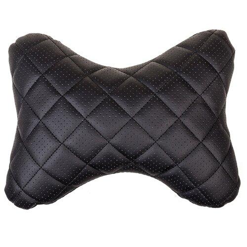 Автомобильная подушка на подголовник (подушка косточка из перфорированной эко-кожи с черной строчкой) SKYWAY - S08001006