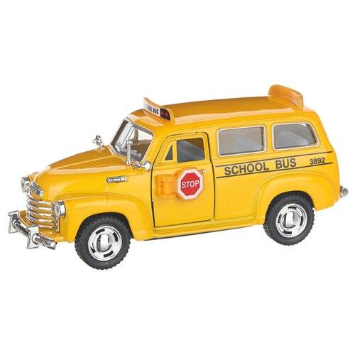 Купить Детская инерционная металлическая машинка с открывающимися дверями, модель Chevrolet школьный автобус, желтый, Serinity Toys, Машинки и техника