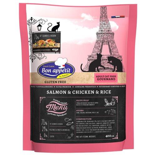 Корм для кошек Bon Appetit Gourmand, гипоаллергенный, с лососем, с курицей, с рисом 400 г