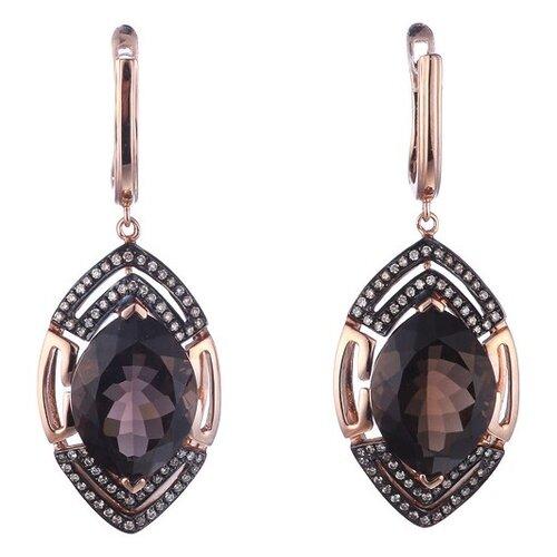JV Золотые серьги с бриллиантами, раухтопазом E01406SQ4RS-SR-DN-SQ-PINK
