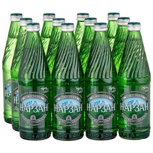 Минеральная лечебно-столовая вода Нарзан газированная, стекло, 12 шт. по 0.5 л вода минеральная природная питьевая лечебно столовая липецкая газированная стекло 12 шт по 0 5 л