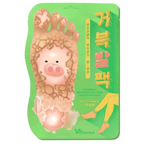 Elizavecca Отшелушивающие пилинг-носочки Witch Piggy Hell Pore Turtle's Foot Pack 40 г пакет недорого