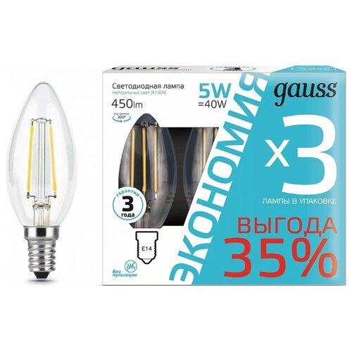 Упаковка светодиодных ламп 3 шт gauss 103801205T, E14, C35, 5Вт упаковка светодиодных ламп 10 шт gauss 13626 gu10 r50 5 5вт
