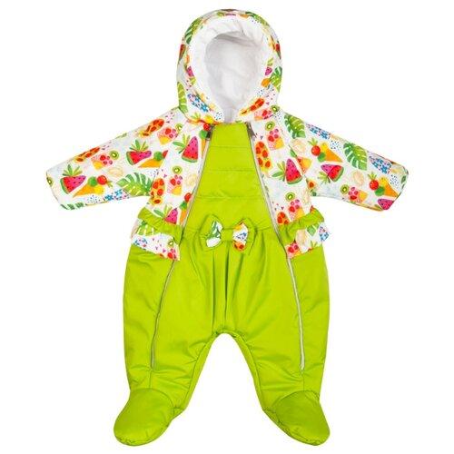 Купить Комбинезон Сонный Гномик Фруктель 2805 размер 68, зеленый с рисунком, Теплые комбинезоны