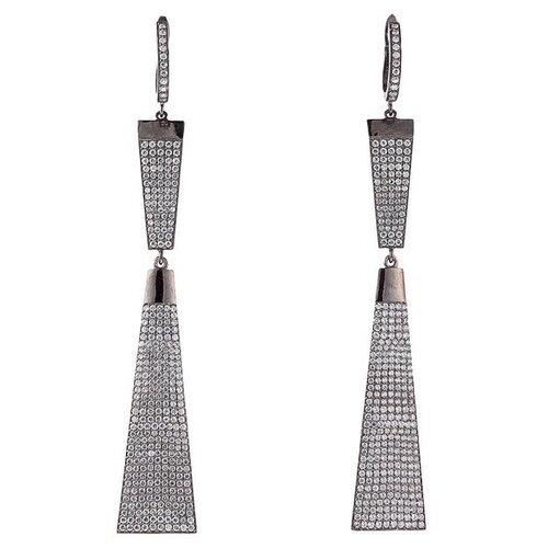 JV Серебряные серьги с кубическим цирконием MPE-93-001-BLK