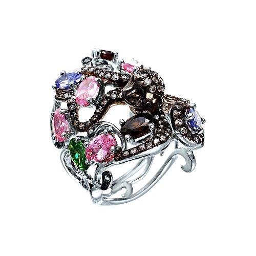 Фото - JV Серебряное кольцо с кубическим цирконием RR11886-KO-001-WG, размер 18 jv серебряное кольцо с кубическим цирконием dm0026r ko 001 wg размер 18