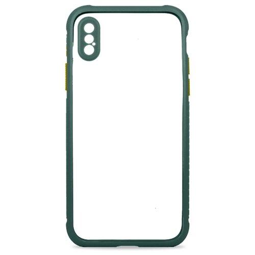 Прозрачный чехол для iPhone X и XS / Чехол 360 на Айфон Икс и Айфон Икс Эс / Силиконовый чехол с функцией защитного стекла для камеры (Темно-зеленый)