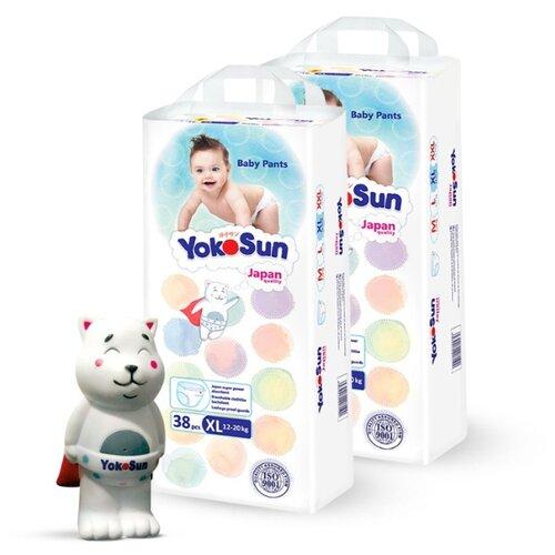 Фото - YokoSun трусики XL (12-20 кг) 76 шт. + игрушка для ванной котик Йоко yokosun трусики xl 12 20 кг 76 шт игрушка для ванной котик йоко