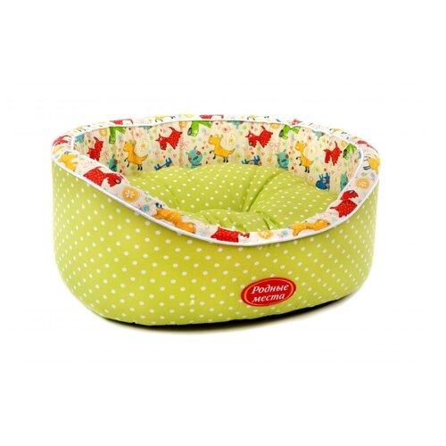 Лежак для собак и кошек Родные места Премиум №1 Оливковый горошек с собачками 43х38х15 см оливковый/белый