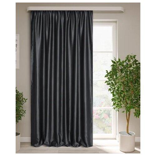 тюль тд текстиль кристин голуб 300 270 Портьеры ТД Текстиль Милан на ленте 270 см, 1 шт. серый-черный