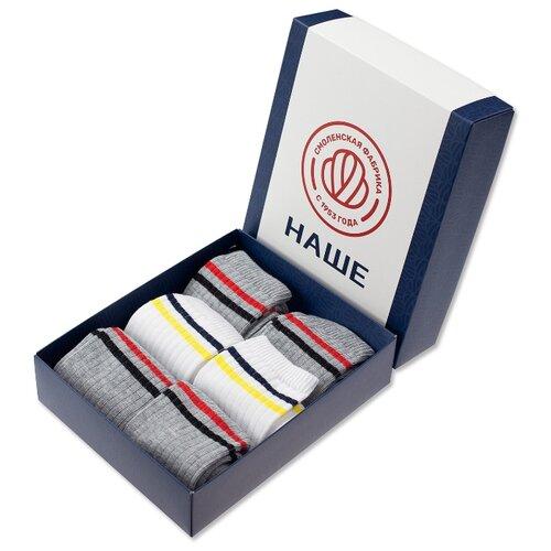 цена Носки НАШЕ комплект 6 пар размер 22/34-36, темный меланж/белый онлайн в 2017 году