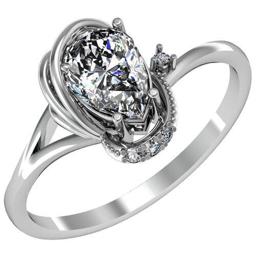 Приволжский Ювелир Кольцо с 5 фианитами из серебра 271133-FA11, размер 19 фото