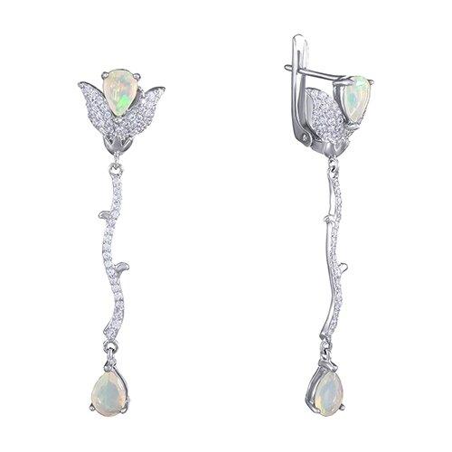 JV Серебряные серьги с кубическим цирконием, опалом SR-0102-SR-OP-003-WG