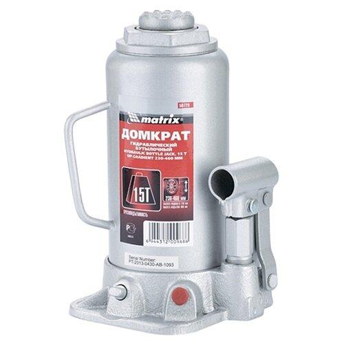 Домкрат бутылочный гидравлический matrix 50729 (15 т) стальной