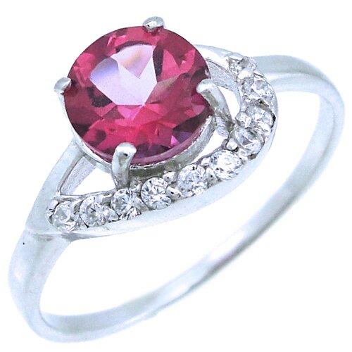 Balex Кольцо 1405937773 из серебра 925 пробы с топазом розовым природным и фианитом, размер 17.5
