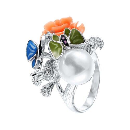 JV Серебряное кольцо с жемчугом, фианитом, эмалью SE2191-R-KO-WP-CI-ENAM-003-WG, размер 16.75