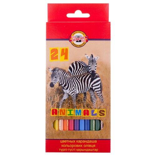 Купить KOH-I-NOOR Карандаши цветные Животные, 24 цветов (3554024008KSRU), Цветные карандаши