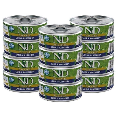Влажный корм для кошек Farmina N&D Prime, беззерновой, с ягненком, с черникой 12шт. х 80 г (кусочки в соусе)