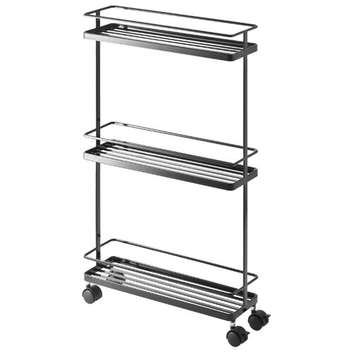 Этажерка Yamazaki Tower Rolling kitchen storage cart, материал: металл, ШxГxВ: 38х12х66 см, черный