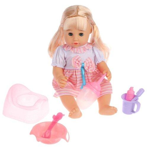 Фото - Интерактивная кукла Наша игрушка Сладкая малышка в полосатом платьице 35 см 642248 товары для праздника наша игрушка вертушка цветочек с липестками 35 см